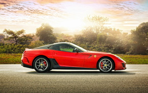 sportcar, supercar, Ferrari, red, light