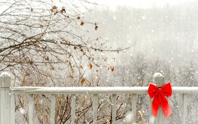 snow, bow, winter, nature