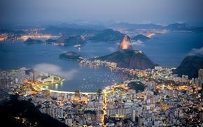 cities, evening, resort, lights, bay