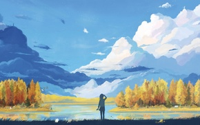 fantasy art, clouds, artwork, landscape, anime, mountain
