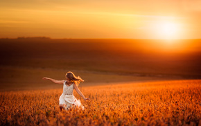 children, nature, wheat, light, sunset