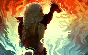 Daenerys Targaryen, dragon, fan art, Game of Thrones, artwork