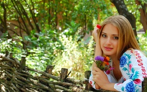 light brown, people, blonde, trees, city