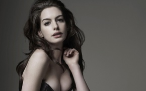 girl, long hair, brunette, Anne Hathaway, cleavage, actress