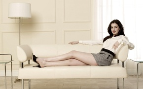 actress, Anne Hathaway, girl, dark hair, celebrity, open