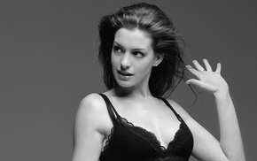 Anne Hathaway, monochrome, actress, girl