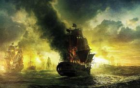 painting, ships, sky, sailfish, clouds