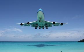 aircraft, sky, shadow, beach, ocean