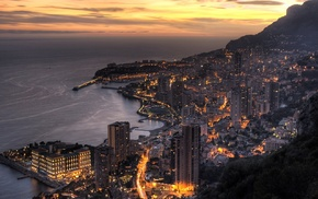 sunset, lights, Monaco, urban, mountain, cityscape
