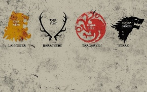 House Lannister, House Stark, sigils, Game of Thrones, House Targaryen, House Baratheon