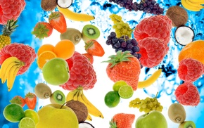 grapes, fruits, berries, strawberry, water