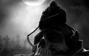 death, skull, fantasy, moon