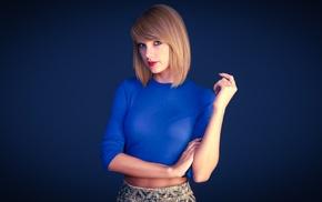 girl, Taylor Swift, singer, blue