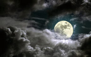 night, stunner, clouds, moon, beautiful