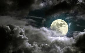 ночь, красивые, облака, тучи, луна, красиво