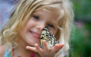 children, girlie, hand, butterfly