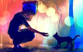 blue hair, cat, anime, Apofiss, bokeh, rain