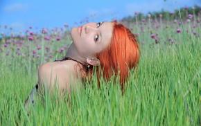 red hair, field, girls