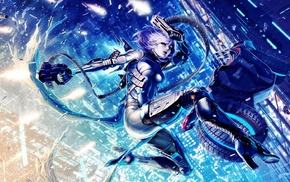 jumping, futuristic, gun, cyborg
