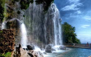 park, France, waterfall, nature