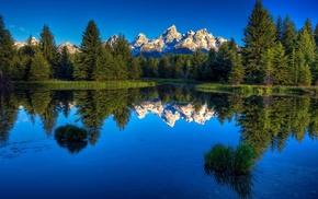 озеро, природа, Лес, горы