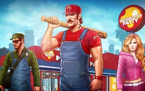 crossover, Princess Peach, mushroom, Luigi, Super Mario, Grand Theft Auto