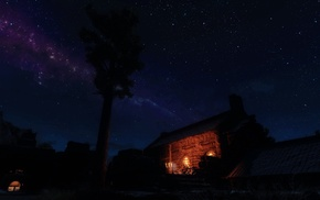 video games, aurorae, The Elder Scrolls V Skyrim, ENB, night