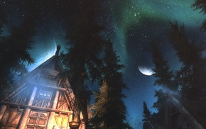 night, aurorae, video games, The Elder Scrolls V Skyrim, ENB