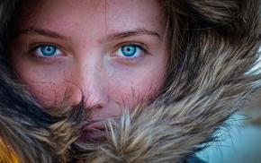 blue eyes, face, fur, freckles, portrait, girl