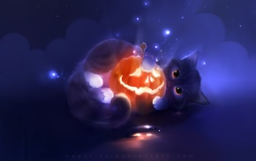 pumpkin, Halloween, cat, Apofiss, artwork, glowing