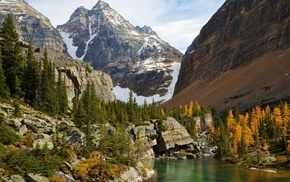 lake, coast, nature, mountain, trees
