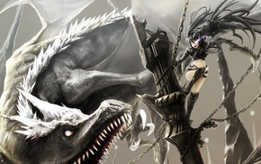 Black Rock Shooter, dragon, anime, anime girls
