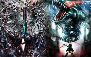 anime, Vocaloid, Hatsune Miku, Strength Black Rock Shooter, anime girls, Black Rock Shooter
