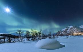 снег, природа, звезды, зима, Норвегия, горы