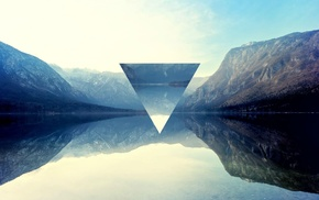lake, triangle, polyscape, reflection, mountain