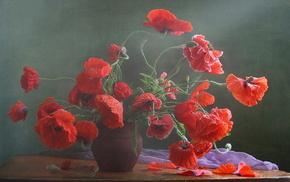 poppies, flowers, vase, still life