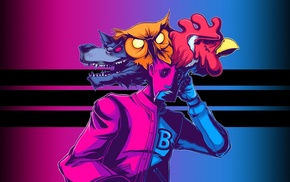 roosters, wolf, Hotline Miami