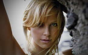 girl, blonde, green eyes, Charlize Theron