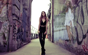 legs, Clara Alonso, black outfits, photo manipulation, black pants, graffiti