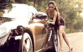 Porsche, cleavage, girl with cars, boobs, smooth skin, girl