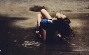 lying down, puddle, water, brunette, girl, rain