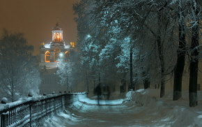 snow, evening, trees, runway, winter