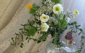 flowers, tea, cup, still life, vase