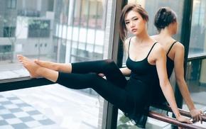 girl, stretching, smooth skin, ballet