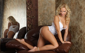 blonde, model, reflection, widescreen, couch