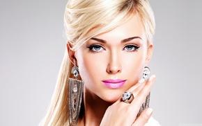 girl, blonde, blue eyes, lips, lipstick, smooth skin