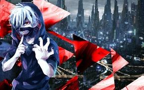 anime, abstract, red, Kaneki Ken, blue, Tokyo Ghoul