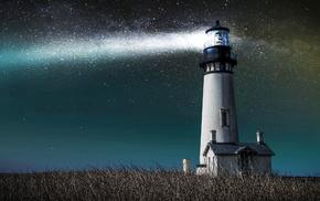 lodge, lighthouse, light, sky, stars