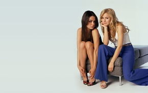 girl, Kristen Bell, brunette, open, toed shoes, Mila Kunis