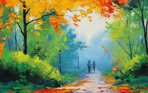 парк, деревья, путь, картина, огни улицы